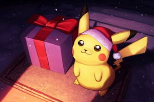 Pikachu On Christmas Day Fanart Wallpaper