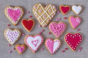 Pink Color Heart Shaped Cookies Wallpaper
