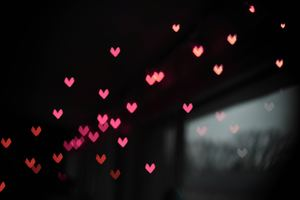Pink Little Heart Bokeh Lights Wallpaper