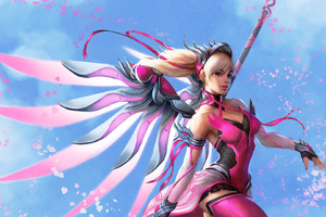 Pink Mercy Overwatch Wings Fantasy Digital Art Wallpaper
