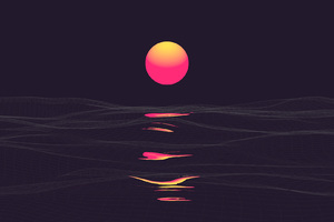 Pink Retrowave Sunset