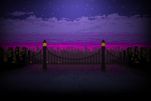 Pixel Art Bridge Night