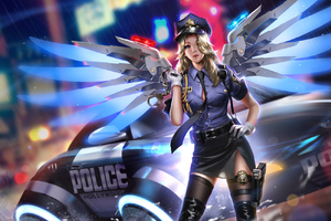 Police Girl Mercy Overwatch 2018 HD