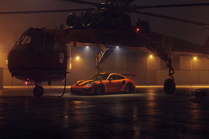 Porsche GT2RS With Helicopter Wallpaper