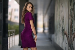 Purple Dress Long Hair Model Wallpaper