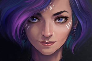 Purple Hair Artistic Girl Wallpaper