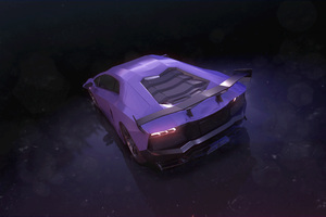 Purple Lamborghini Aventador Rear Wallpaper