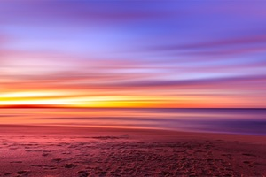 Purple Sky Beach Sunset Sand Footprints