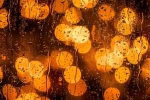 Rain Drops Orange Bokeh Lights 5k Wallpaper