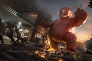 Red Creature Destroying City