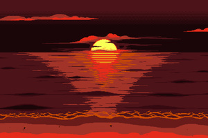 Red Dark Pixel Art Sunset 8k