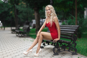 Red Dress Blonde Model Outdoor