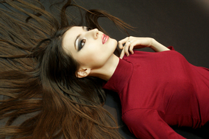 Red Dress Model Open Hair Wallpaper