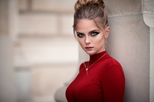 Red Dress Women Depth Of Field Wallpaper