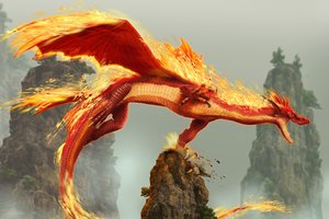 Red Fire Dragon Creature Fantasy Monster 5k Wallpaper