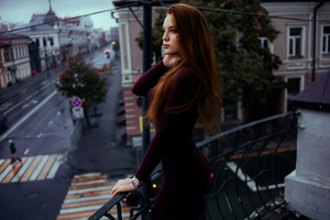 Red Hair Women In Balcony Wallpaper