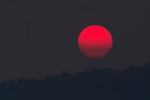 Red Moon At Evening Wallpaper