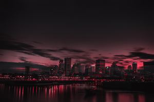 Red Night Panorama Buildings Lights Red Sky 5k Wallpaper