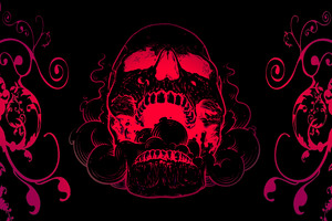 Red Skull Flowers Black Background 4k Wallpaper