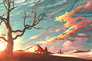 Red Sky Mountains Trees Digital Art Painting 4k Wallpaper