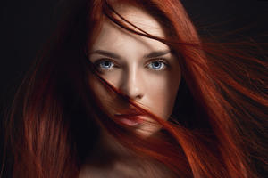 Redhead Girl Hairs On Face 4k 5k Wallpaper