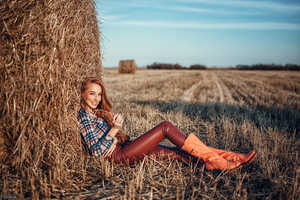 Redhead Women Outdoors In Leather Pants Wallpaper