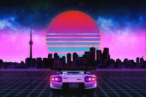 Retro Wave Lamborghini Neon City 5k