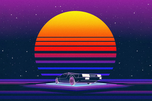 Retrowave Car 5k Wallpaper
