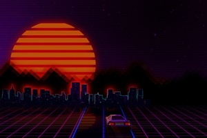 Retrowave City Artistic Car