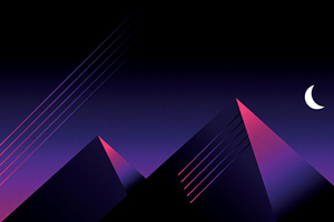 Retrowave Outrun Mountains Night Wallpaper