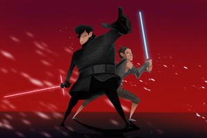 Rey And Kylo Ren Artwork 4k Wallpaper