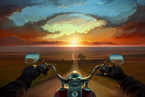 Riding Bike Art Wallpaper