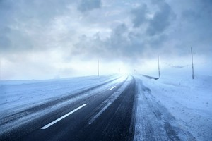 Road Covered With Snow Storm Winter Season 4k 5k Wallpaper