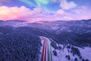 Road Trails Long Exposure Colorful 4k Wallpaper