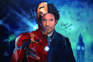 Robert Downery JR As Holmes And Iron Man Portrait Wallpaper