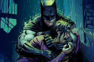 Robin Crying In Batman Arms Wallpaper