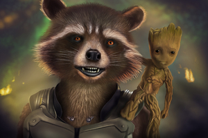 Rocket And Baby Groot Artwork