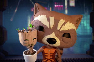 Rocket And Baby Groot Bait n Switch Wallpaper