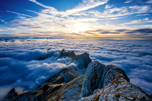 Saentis Mountains Clouds View From Top 4k Wallpaper