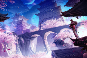 Sakura Castle 4k Wallpaper