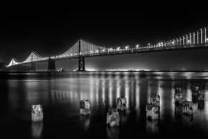 San Francisco Bay Bridge At Night Time Monochrome 5k Wallpaper