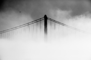 San Francisco Oakland Bay Bridge Covered With Fog Wallpaper