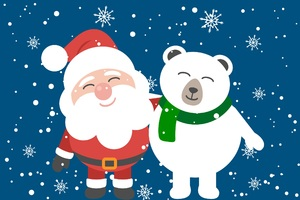 Santa Clause And Bear Friend Wallpaper