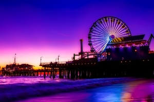 Santa Monica Ferris Wheel Colorful Golden Hour Wallpaper