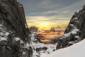 Scenery Snow Mountains Wallpaper