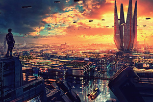 Science Fiction Cityscape Futuristic City Digital Art 4k