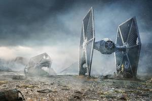 Scifi C 3PO R2 D2 Star Wars TIE Fighter Wallpaper