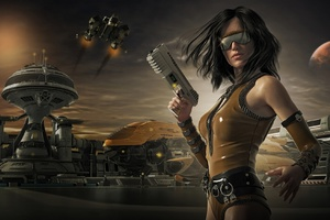 Scifi Sunglasses Woman Warrior With Guns