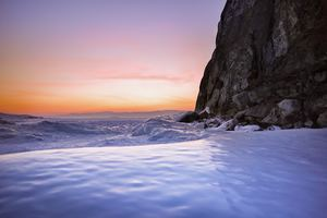 Sea Foam Snow Rocks Water Sky 4k Wallpaper