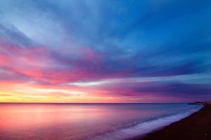 Sea Line Purple Sky 5k Wallpaper
